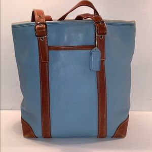 COACH 4462 blue & tan leather hamptons tote bag